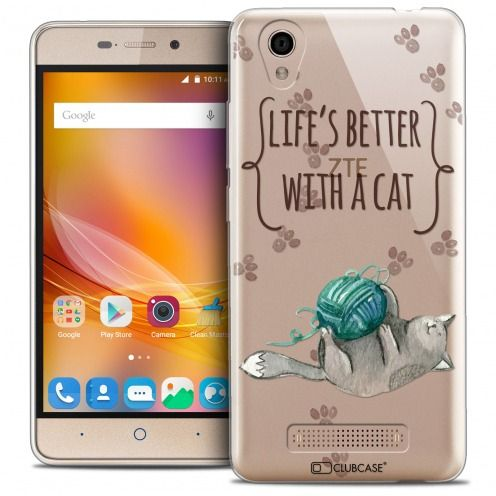Carcasa Crystal Gel Extra Fina ZTE A452 Quote Life's Better With a Cat