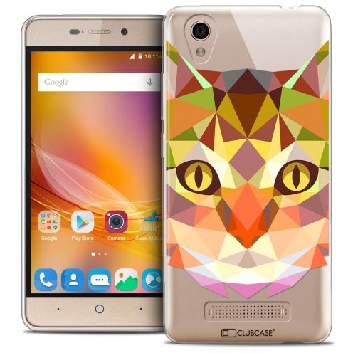Carcasa Crystal Gel Extra Fina ZTE A452 Polygon Animals Gato