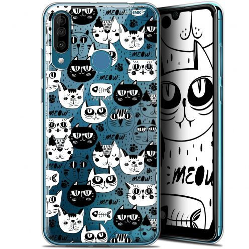 "Carcasa Gel Extra Fina Wiko View 3 (6.26"") Design Chat Noir Chat Blanc"