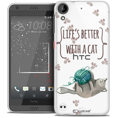 Carcasa Crystal Gel Extra Fina HTC Desire 530/630 Quote Life's Better With a Cat