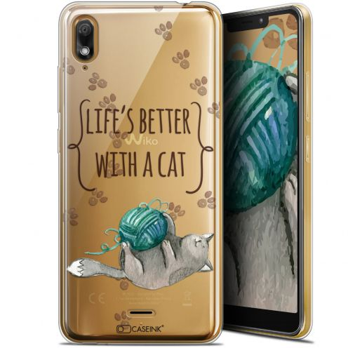 "Carcasa Gel Extra Fina Wiko View 2 GO (5.93"") Quote Life's Better With a Cat"