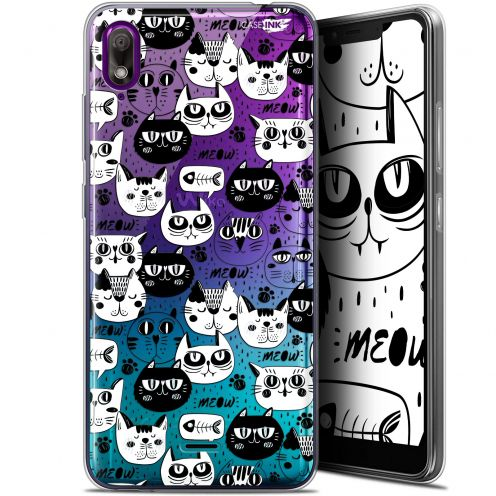 "Carcasa Gel Extra Fina Wiko View 2 GO (5.93"") Design Chat Noir Chat Blanc"