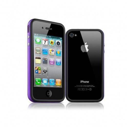 HQ del tope del casco negro / morado para iPhone 4 S / 4