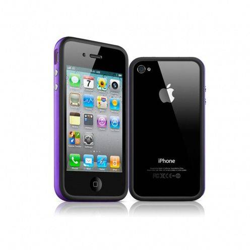Carcasa Bumper HQ Negra / Violeta para iPhone 4S / 4