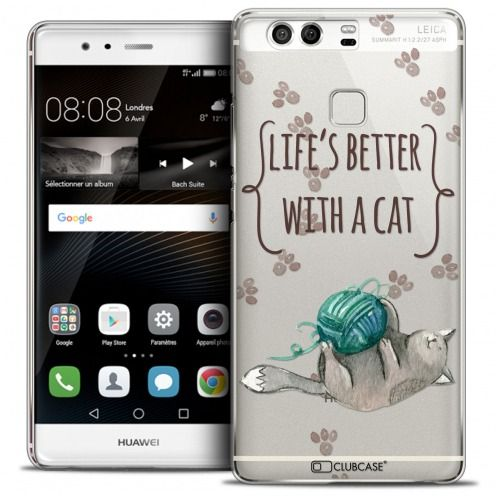 Carcasa Crystal Rigide Extra Fina Huawei P9 Quote Life's Better With a Cat