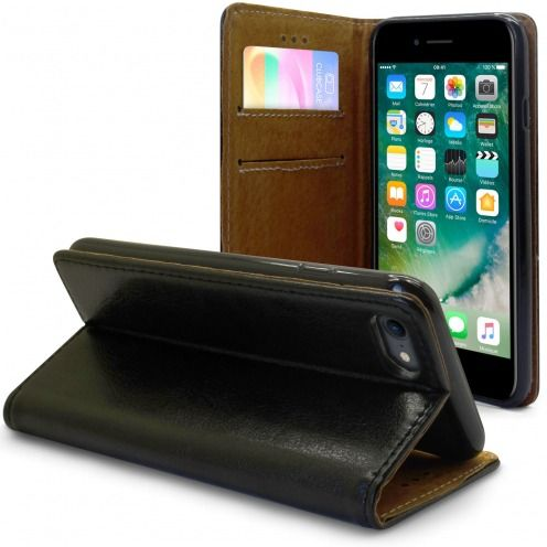 "Funda Italia Folio para Apple iPhone 7/8 (4.7"") Cuero Auténtico Negro"