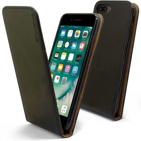 "Funda Italia Flip para Apple iPhone 7/8 Plus (5.5"") Cuero Auténtico Negro"