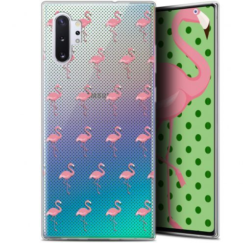 "Carcasa Gel Extra Fina Samsung Galaxy Note 10+ / Plus (6.8"") Pattern Les flamants Roses Dots"