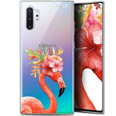 "Carcasa Gel Extra Fina Samsung Galaxy Note 10+ / Plus (6.8"") Design Flamant Rose Fleuri"