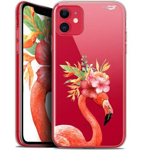 "Carcasa Gel Extra Fina Apple iPhone 11 (6.1"") Design Flamant Rose Fleuri"