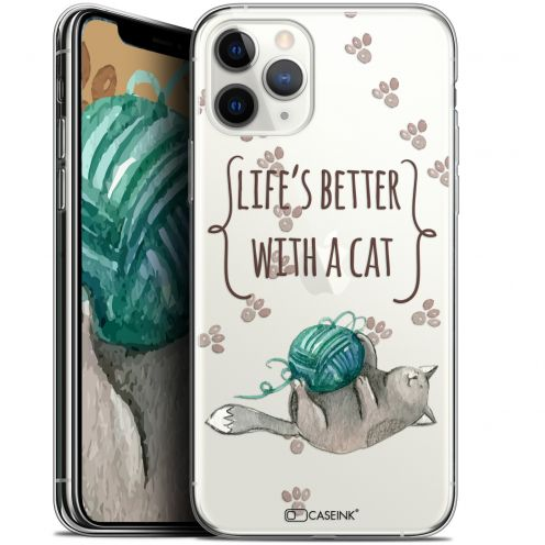 "Carcasa Gel Extra Fina Apple iPhone 11 Pro (5.8"") Quote Life's Better With a Cat"