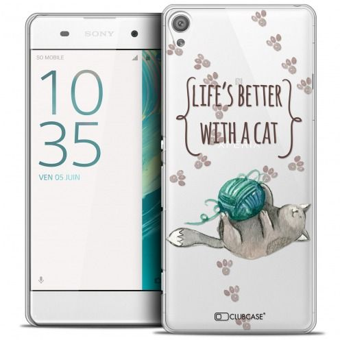 Carcasa Crystal Extra Fina Xperia XA Quote Life's Better With a Cat