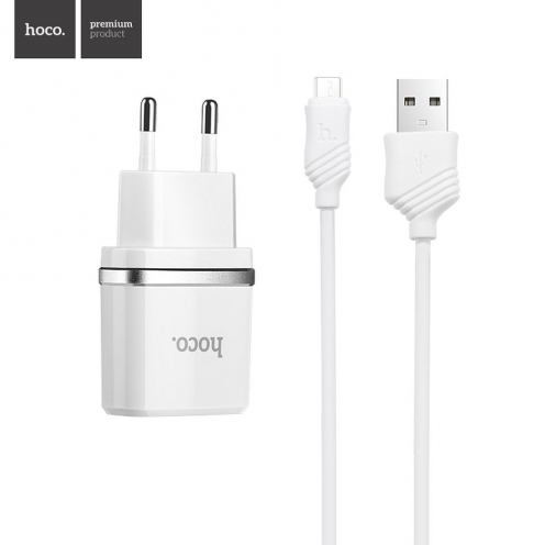 HOCO travel charger smart dual USB + Micro cable charger set 2,4A C12