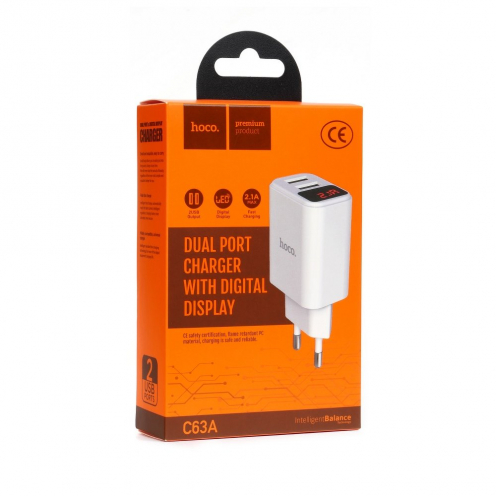 HOCO travel charger C63A Victoria dual port charger with digital display (EU) white