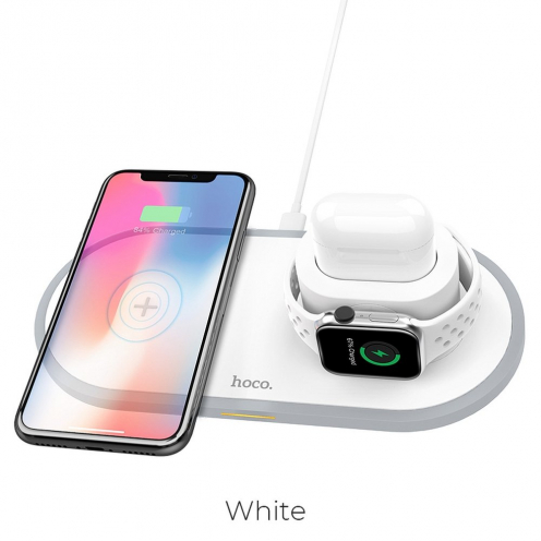 HOCO wireless charger CW21 Wisdom Qi 3-in-1 (mobile + smartwatch + airpods) 2A 10W white