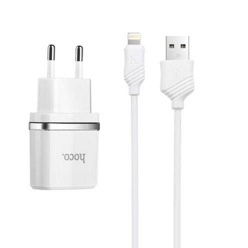 HOCO travel charger smart USB + Lightning cable 1A C11 white