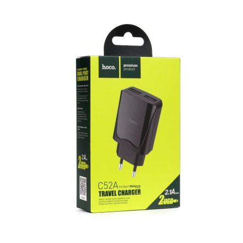 HOCO travel charger 2x USB C52A 2,1A black