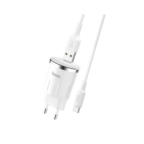 HOCO travel charger single port USB + Type C cable Thunder Power 2,4A C37A white