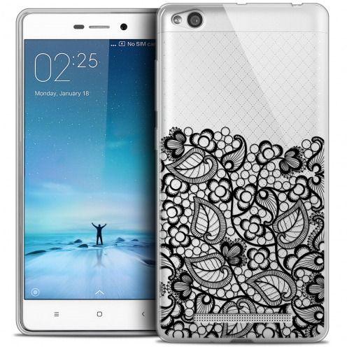 Carcasa Crystal Gel Extra Fina Xiaomi Redmi 3 Spring Bas dentelle Noir