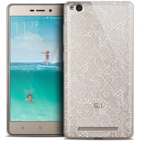 Carcasa Crystal Gel Extra Fina Xiaomi Redmi 3 Colección Encaje de Flores - Blanco