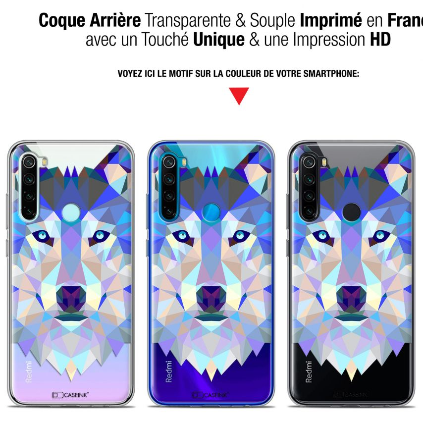 "Carcasa Gel Extra Fina Xiaomi Redmi Note 8 (6.3"") Polygon Animals Lobo"