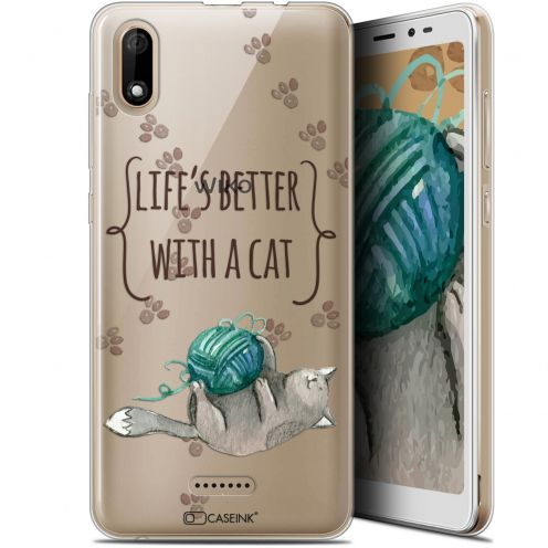 "Carcasa Gel Extra Fina Wiko Y60 (5.45"") Quote Life's Better With a Cat"