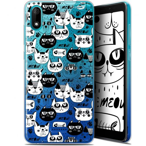"Carcasa Gel Extra Fina Wiko Y60 (5.45"") Design Chat Noir Chat Blanc"