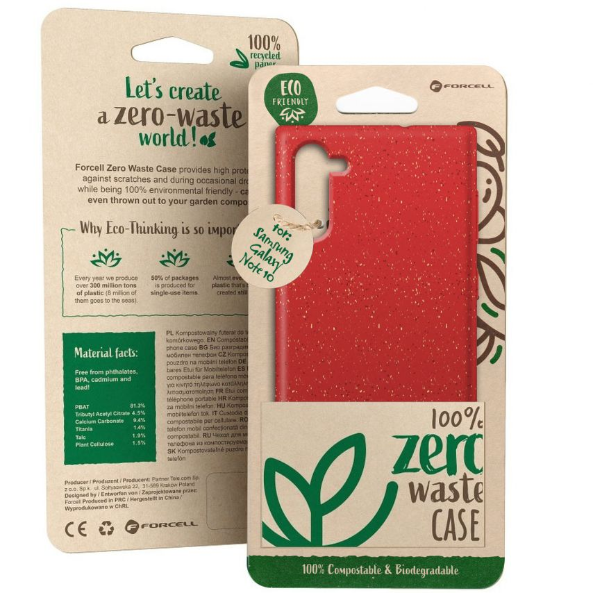 Carcasa Biodegradable ZERO Waste para Samsung Galaxy Note 10 Roja