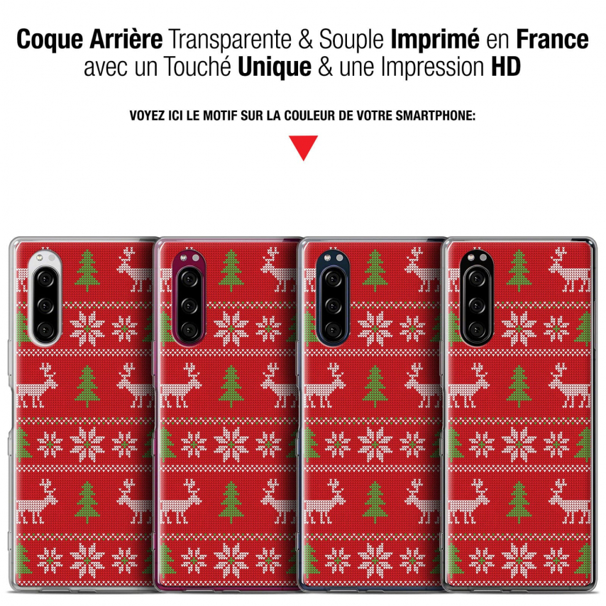 "Carcasa Gel Extra Fina Sony Xperia 5 (6.1"") Noël 2017 Couture Rouge"
