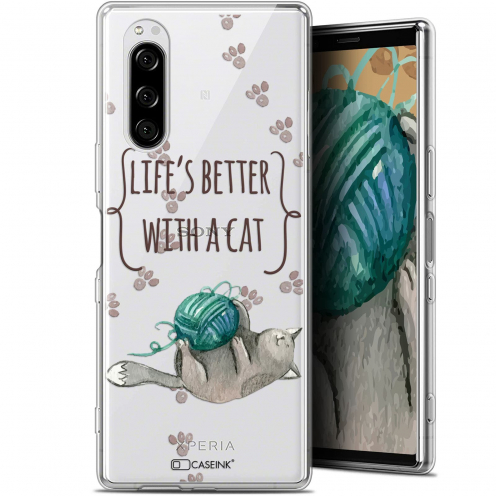 "Carcasa Gel Extra Fina Sony Xperia 5 (6.1"") Quote Life's Better With a Cat"