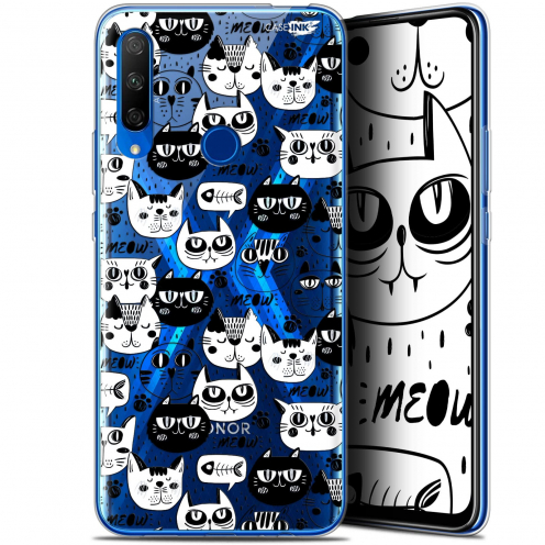 "Carcasa Gel Extra Fina Huawei Honor 9X (6.59"") Design Chat Noir Chat Blanc"