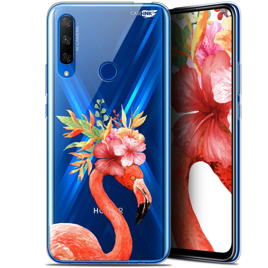 "Carcasa Gel Extra Fina Huawei Honor 9X (6.59"") Design Flamant Rose Fleuri"