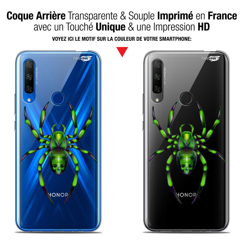 "Carcasa Gel Extra Fina Huawei Honor 9X (6.59"") Design Arraignée Verte"
