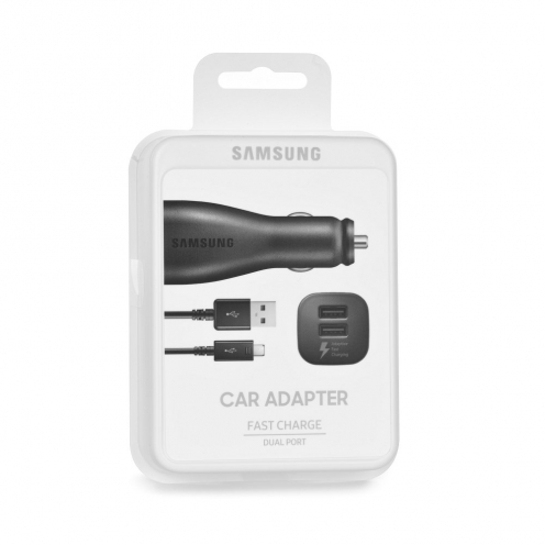 Original Car Charger Samsung EP-LN920BB 2A 2x Micro USB black blister