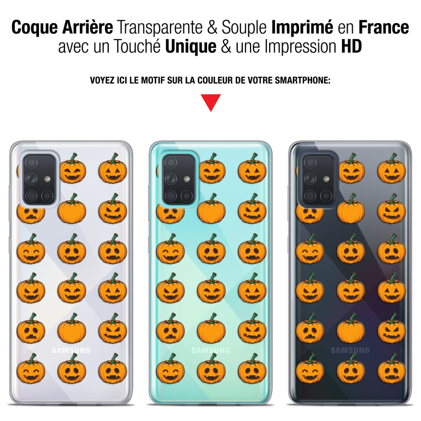 "Carcasa Gel Extra Fina Samsung Galaxy A71 (A715) (6.7"") Halloween Smiley Citrouille"