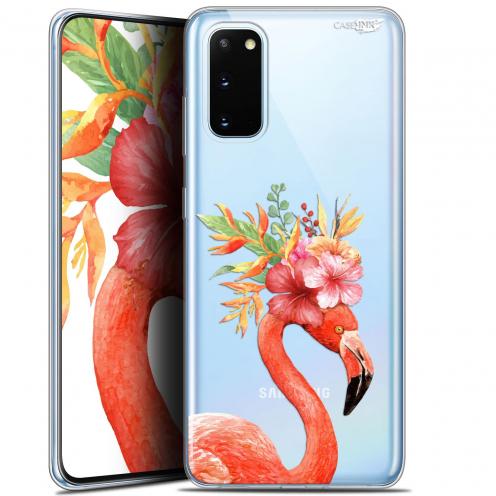 "Carcasa Gel Extra Fina Samsung Galaxy S20 (6.2"") Design Flamant Rose Fleuri"