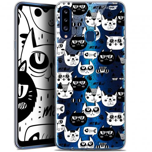 "Carcasa Gel Extra Fina Samsung Galaxy A20s (6.5"") Design Chat Noir Chat Blanc"