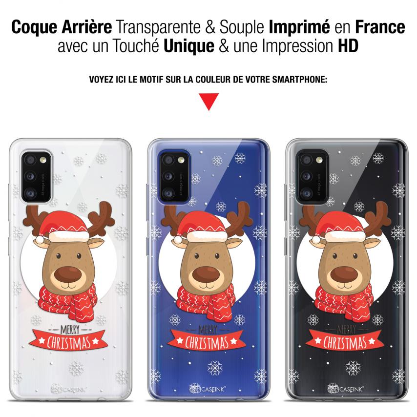 "Carcasa Gel Extra Fina Samsung Galaxy A41 (6.1"") Noël 2017 Cerf à Echarpe"
