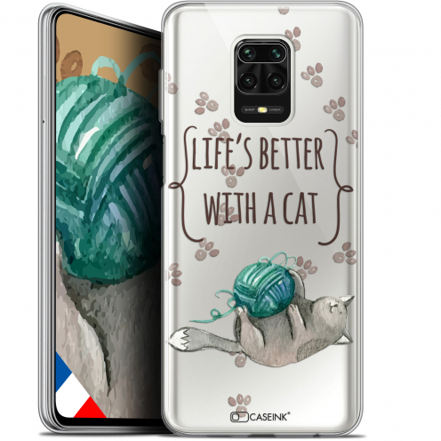 """Carcasa Gel Extra Fina Xiaomi Redmi Note 9S (6.67"""") Quote Life's Better With a Cat"""