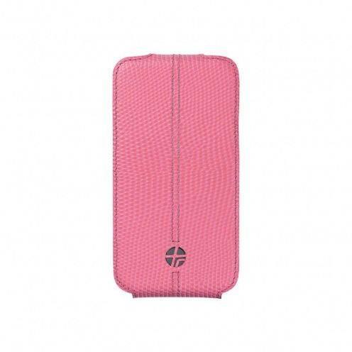 Funda cuero verdadero con tapa giratoria Trexta ® Flippo lagarto rosa iPhone 4 / 4S