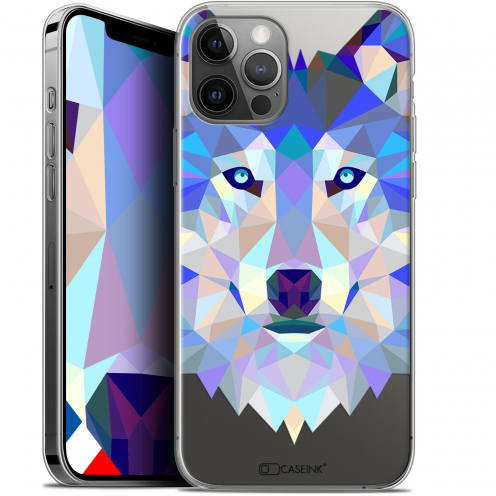 "Carcasa Gel Extra Fina Apple iPhone 12 / 12 Pro (6.1"") Polygon Animals Lobo"