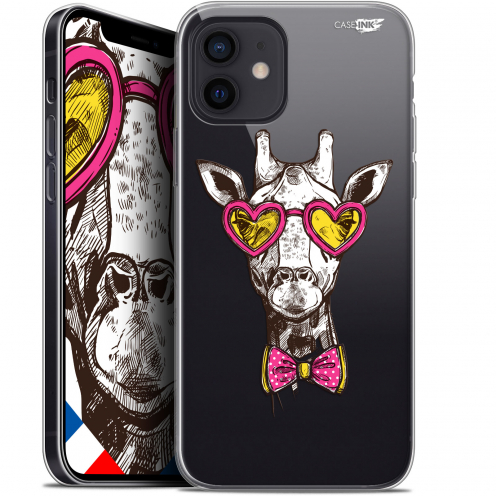 "Carcasa Gel Extra Fina Apple iPhone 12 Mini (5.4"") Design Hipster Giraffe"