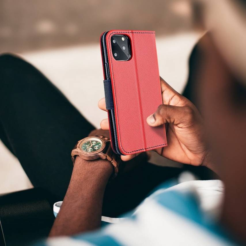 Fancy Book carcasa for Xiaomi Note 8T red/navy