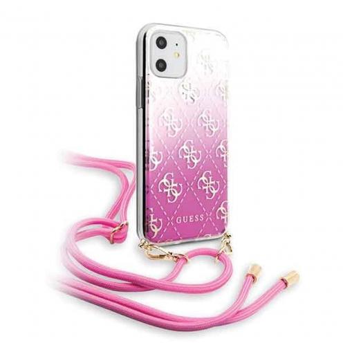 Original faceplate carcasa Guess© GUHCN61WO4GPI iPhone 11 pink