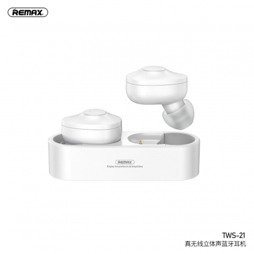 Remax© bluetooth earphones TWS-21 with power bank white