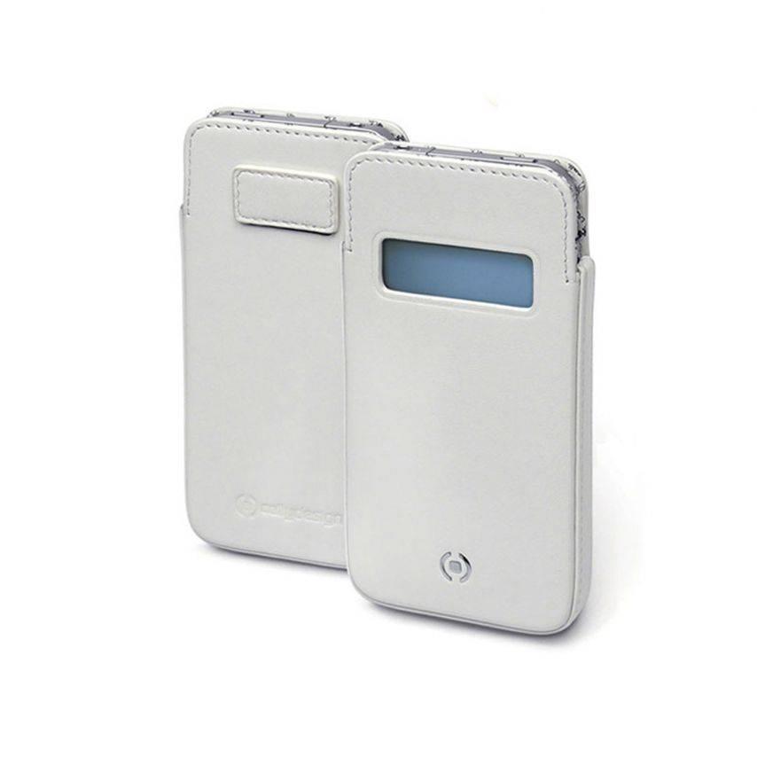 Funda de cuero genuino Cellydesign ® blanco Win para iPhone 5