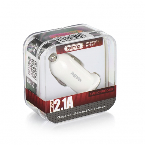 REMAX Car Charger Single USB 2.1A RCC101 white