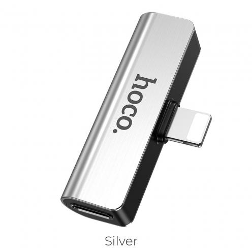 HOCO audio converter LS25 Digital for Iphone Lightning 8-pin - Jack 3,mm+Lightning 8-pin silver