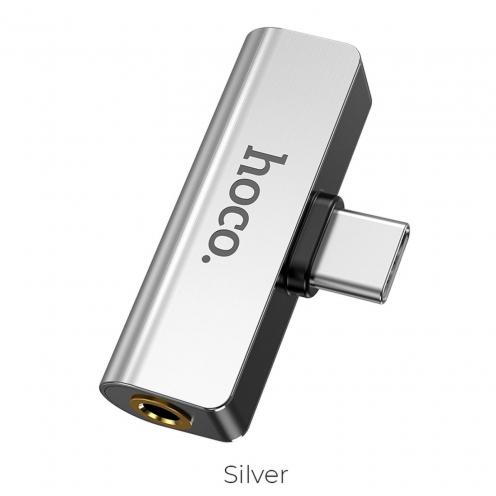 HOCO audio converter LS26 Type C - Jack 3,5mm + Typ C silver