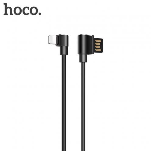 HOCO Long roam charging data cable for Iphone Lightning 8-pin U37 90 degree 1,2 meter black